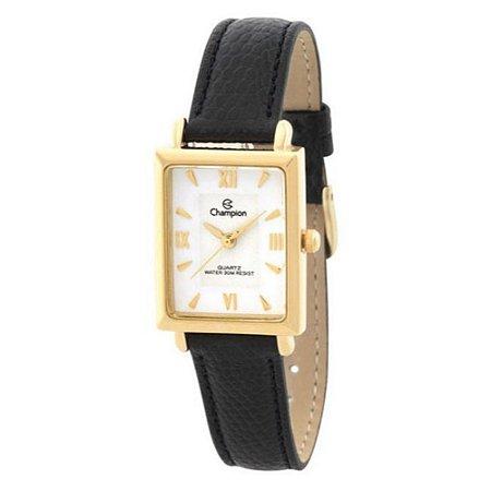 Relógio Feminino Dourado Quadrado Champion Pulseira Couro+NF