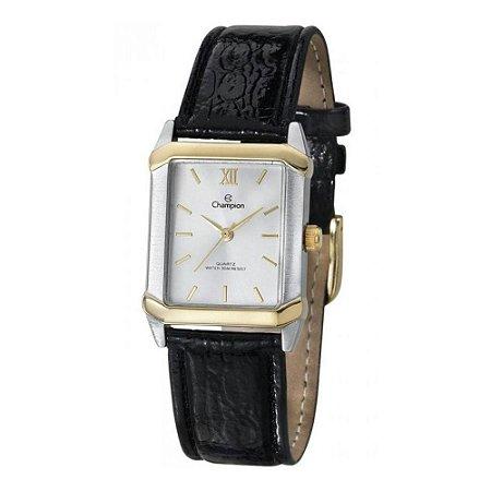 Relógio Feminino Quadrado Dourado e Prata Champion Couro +NF