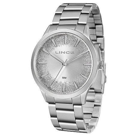 Relógio Feminino Prata Ponteiro Lince com Gliter Original+NF
