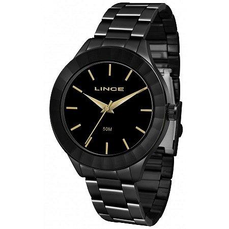 Relógio Feminino Preto Ponteiro Lince Indicadores Dourado+NF