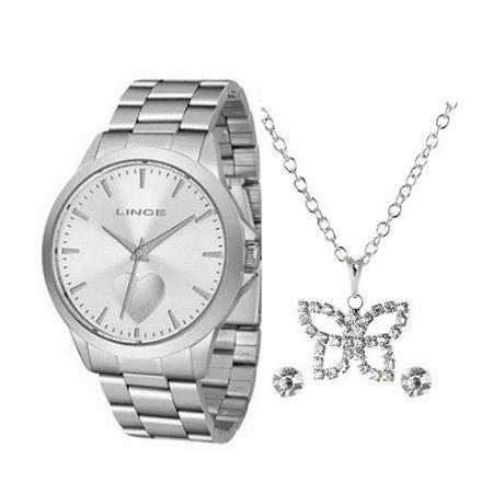 ´Kit Relógio Feminino Prata Colar e Brinco Lince Original+NF