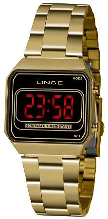 Relógio Feminino Dourado Quadrado Digital Led Lince Original