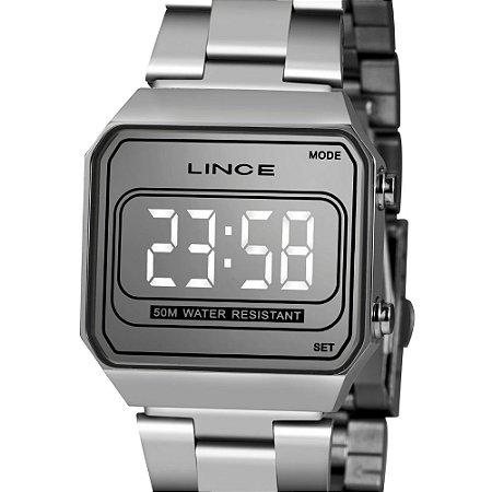Relógio Feminino Prata Led Quadrado Digital Lince Origina+NF