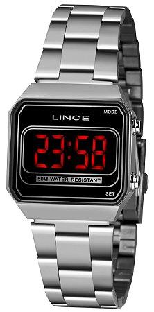 Relógio Feminino Prata Digital Led Quadrado Lince Origina+NF
