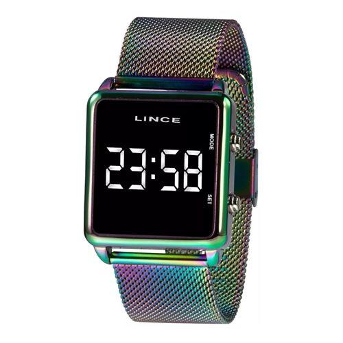 Relógio Feminino Digital Led Quadrado Colorido Lince Origina