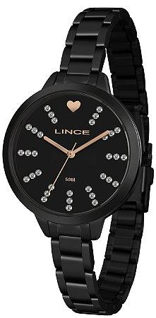 Relógio Feminino Preto Ponteiro Lince Com Pedras Original+NF