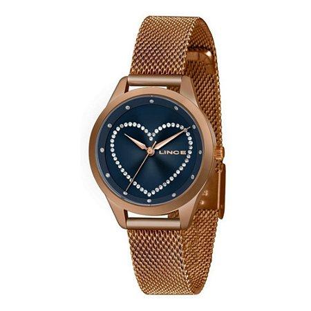 Relógio Feminino Rose Lince Ponteiros com Pedras Coração+NF
