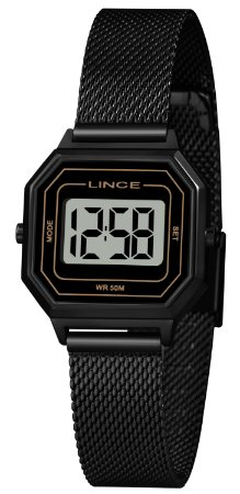 Relógio Feminino Preto Quadrado Digital Pequeno Lince Origin