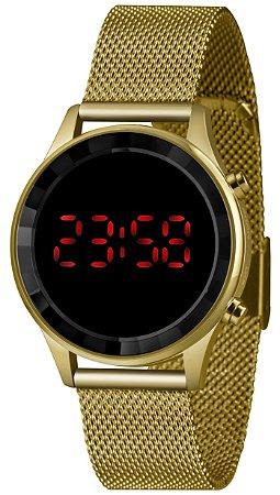 Relógio Feminino Dourado Digital Led Vermelho Lince Originall