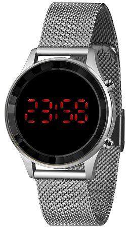Relógio Feminino Prata Digital Led Vermelho Lince Origina+NF