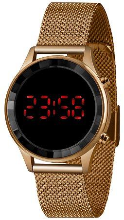 Relógio Feminino Rose Digital Led Vermelho Lince Original+NF