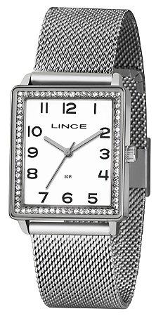 Relógio Feminino Prata Quadrado Lince com Pedras Ponteiro+NF