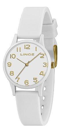 Relógio Feminino Branco e Dourado Ponteiro Silicone Lince+NF