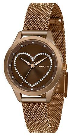 Relógio Feminino Rose Ponteiro Lince Com Pedras Original+NF
