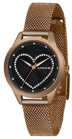 Relógio Feminino Rose e Preto Ponteiro Lince Com Pedras + NF