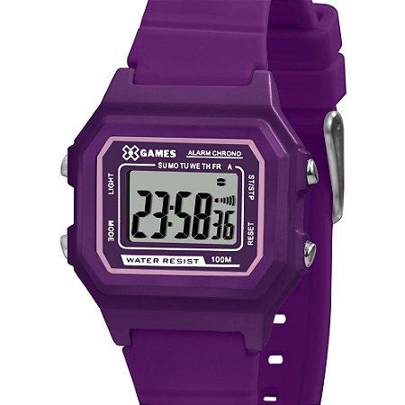 Relógio Infantil Feminino Roxo X GAMES  Digital Silicone+NF