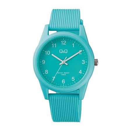 Relógio Azul Feminino Ponteiros Prova D'Água Original Q&Q