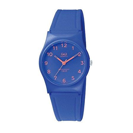 Relógio Feminino Azul Ponteiros Laranja Prova D'Agua + NF