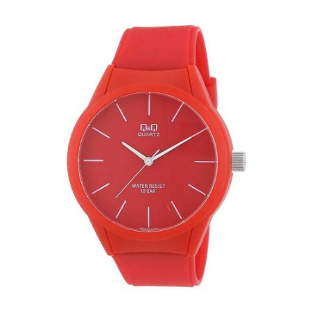 Relógio Feminino Vermelho Ponteiros Sem Numero Original Q&Q
