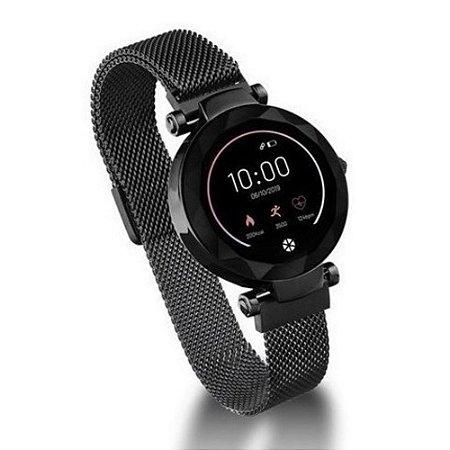 Smartwatch Feminino iOS e Android Com GPS Preto Original +NF
