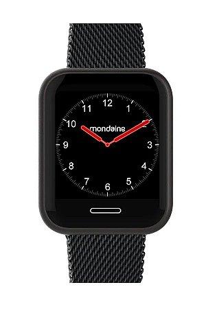 Smartwatch Quadrado IOS e Android Prova D'Água Preto+NF