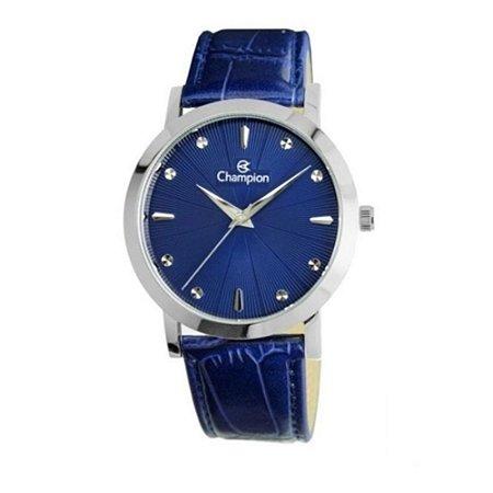 Relógio Feminino Prata Champion Pulseira Couro Azul