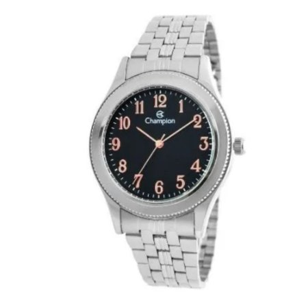 Relógio Feminino Prata Champion Fundo Preto Número Rose Gold
