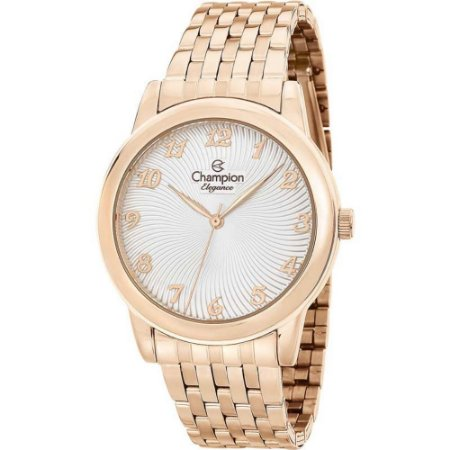 Relógio Feminino Rose Gold Champion Fundo Prata Original +NF