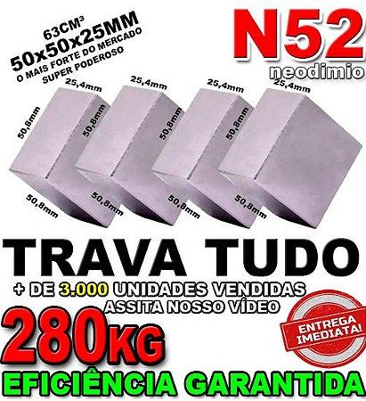 Imã De Neodímio Bloco 50x50x25mm Super Forte Trava Tudo N52 Ima *04 Unidades*