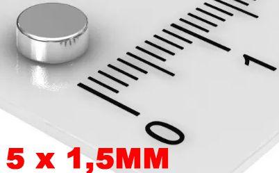 Imã De Neodímio Disco 5mm X 1,5mm - *50 Peças*