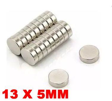 Imã De Neodímio Disco 13mm x 5mm *50 Peças*