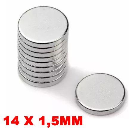 Imã De Neodímio Disco 14mm X 1,5mm *50 Peças*