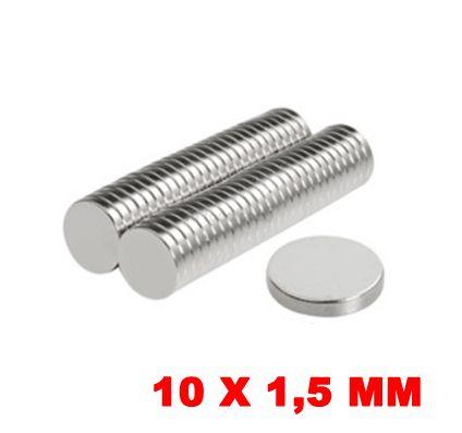 Imã De Neodímio Disco 10mm X 1,5mm *100 Peças*
