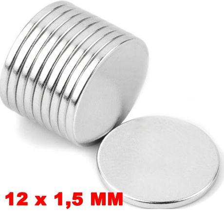 Imã De Neodímio Disco 12mm X 1,5mm *10 Peças*