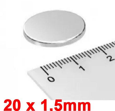 Imã De Neodímio Disco 20mm x 1,5mm *20 Peças*