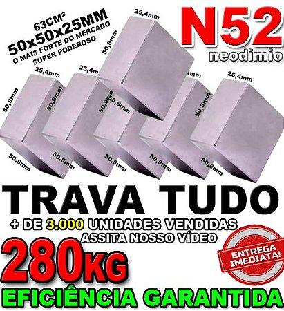 Imã De Neodímio Bloco 50x50x25mm Super Forte Trava Tudo N52 Ima *06 Unidades*
