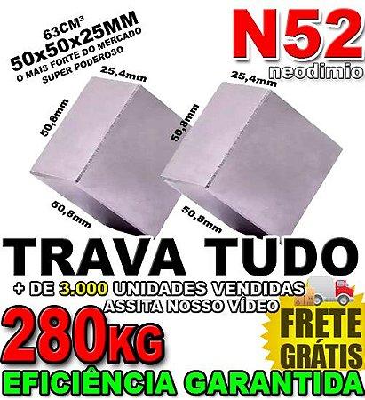 Imã De Neodímio Bloco 50x50x25mm Super Forte Compacto Trava Bem Disco Imã *2 Unidades*