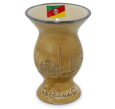 Cuia Cerâmica Baixo Relevo Rio Grande Bandeira Marrom Claro