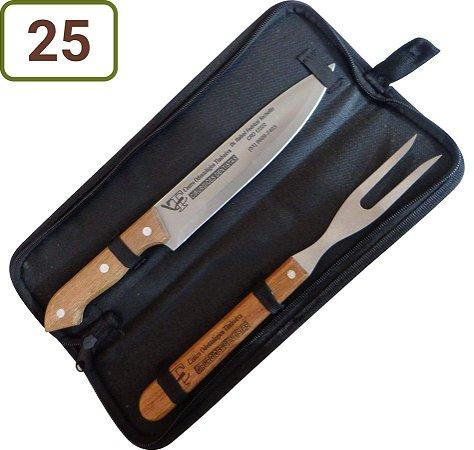 25 Kits Churrasco Personalizados - Garfo / Faca / Estojo