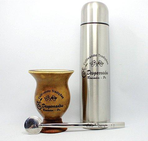 Kit Cuia Porongo + Bomba Inox 25 cm + Térmica Inox 1L