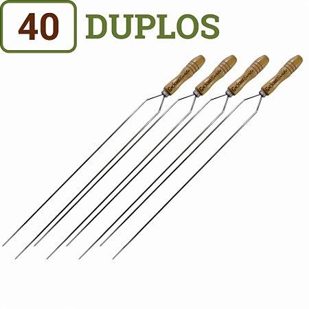 Pacote 40 Espetos para Churrasco Duplos Cabos Personalizados