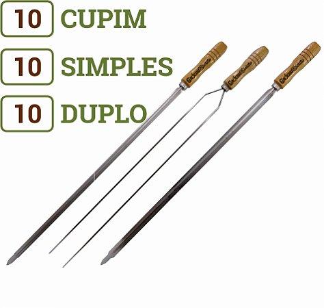 Pacote 30 Espetos (10 Simples / 10 Cupim / 10 Duplos) para Churrasco Cabos Personalizados