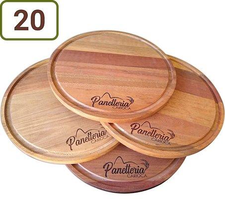 20 Tábuas Redondas Pizza / Queijo / Hambúrguer 23 cm Personalizadas