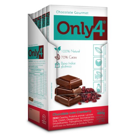 Chocolate com Cranberry 70% Only 4 Display 6x80g
