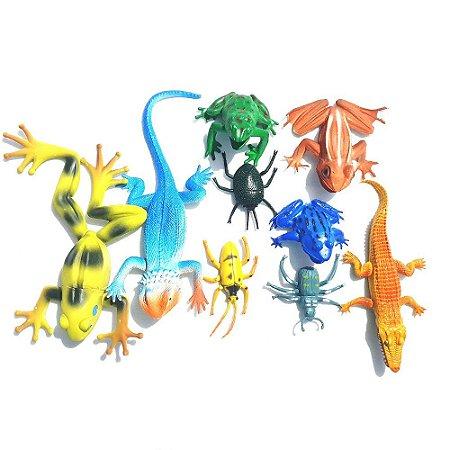 Brinquedo Animal Lagartos E Insetos 9 Peças Tk-1950
