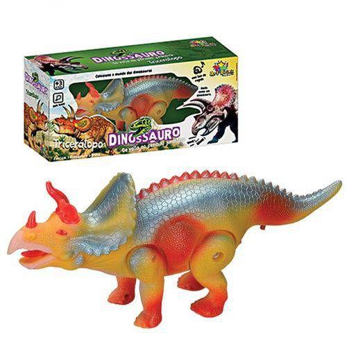 Dinossauro Tricerátops Com Som, Luz E Movimento Brinquedo Eletrônico