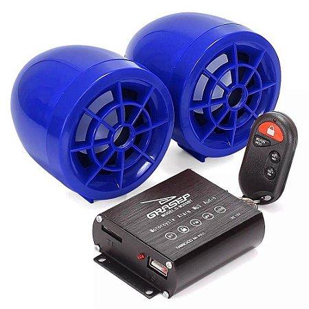 Caixa De Som Alarme Para Moto Bluetooth Usb Rádio Preta M200b