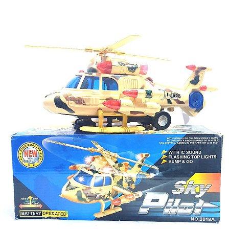 Helicóptero Exercito Sky Pilot Giro 360º Luz Som