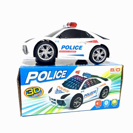 Carrinho De Policia 3d Com Som E Led