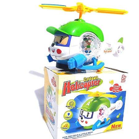 Brinquedo Helicóptero Infantil Bate E Volta Com Luz E Som